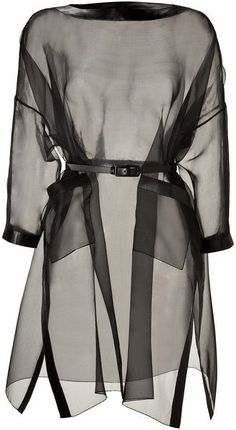 Valentino Black Silk Organza Belted Dress with Leather Trim.it would look amazing layered over a leather sheat dress. Sheer Long Sleeve Dress, Sheer Dress, Belted Dress, Sleeve Dresses, Dress Long, Slit Dress, Valentino Dress, Valentino Black, Valentino Women