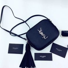 New Arrival!2016 Cheap YSL Out Sale with Free Shipping-Saint Laurent Monogram Medium Blogger Bag in Black Leather