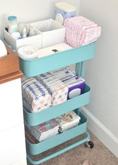 Convert an IKEA rolling cart to changing station storage for diapers, wipes, and more. Perfect for baby's nursery! Convert an IKEA rolling cart to changing station storage for diapers, wipes, and more. Perfect for baby's nursery! Baby Boy Rooms, Baby Bedroom, Baby Room Decor, Baby Boy Nurseries, Master Bedroom, Baby Room Ideas For Boys, Baby Room Diy, Diy For Babies, Future Baby Ideas