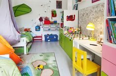 View of colourful shared kids' bedroom with a clever layout and multifunctional storage solutions.