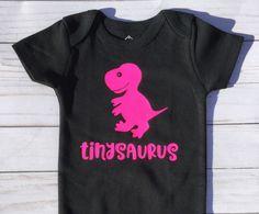 Baby Girl Gift/dinosaur/baby shower gift/tinysaurus/babysaurus/Black and Hot Pink/Body Suit/Baby shower gift by sunnyvilledesigns on Etsy https://www.etsy.com/listing/554447864/baby-girl-giftdinosaurbaby-shower