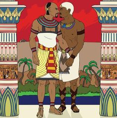 "Khnumhotep and Niankhkhnum together their names mean ""joined in life and death."" They are believed to be the first same-sex couple in recorded history. — R.G.L."