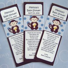 "Looking for a fun idea for your baby shower favors? ABC Favors has exactly what you are looking for with our exclusive ""Monkey Boy' bookmarks. Moms-to-be everywhere are going ""bananas"" over our boy monkey baby shower bookmarks! The blue and brown colors are so popula"