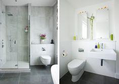 Attractive Modern Minimalist Design Bathroom Vanity features Shower With Glass Door and White Elongated Toilet
