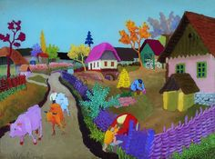 SLAVKO STOLNIK COWS COMING HOME (1957)  I saw this exhibition in Zagreb 2012 at the CROATIAN MUSEUM OF NAIVE ART