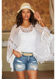White Crochet Poncho ~ Today's Fashion Item | The White Crochet Top by Boston Proper adds style to casual summer outfits in an easy, relaxed silhouette. This Crochet Poncho is perfect for layering over bathing suits, tank tops and camisoles. | Boston Proper Clothes | Boston Proper Clothing | Vacation Outfit | Resort Outfit | Summer Outfit | Cute Outfit Ideas | OOTD | Cruise Outfit | Vacay Outfit | Summer Outfits | Summer Trends | Summer Fashion | Street Fashion | #BostonProper Boston Proper, Crochet Poncho, Casual Summer Outfits, Bathing Suits, Bell Sleeve Top, Feminine, Pullover, Tank Tops, Classy Wedding Guest Dresses