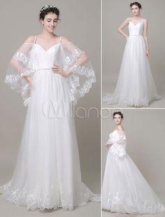 Chic robe de mariage ivoire a-ligne en dentelle fendu encolure en coeur avec…