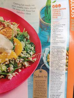 Middle eastern fish  with orange & couscous salad