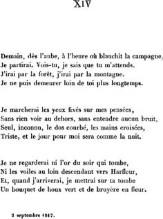 Victor HUGO : Demain, dès l'aube - My favorite Hugo poem, written after the death of his daughter in a shipwreck. Sad Quotes, Book Quotes, Words Quotes, Inspirational Quotes, Greek Quotes, Poetry Quotes, French Poems, French Quotes, Victor Hugo Poems