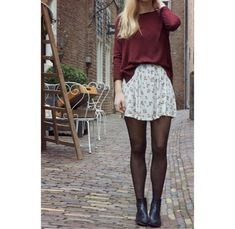 Sweater: floral skirt, skirt, tights, ankle boots, style, stylish ...