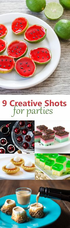 9 Creative Shots for Parties Jello Shots, pudding shots, fruit shots, marshmallow shots, cake shots, apple pie shots, cherry cola shots and more!