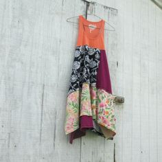 orange, black and pinks/ eco fashion, eco dress, summer dress, beach dress, upcycled dress, upcycled clothing / Funky Tunic Dress by CreoleSha, $77.99