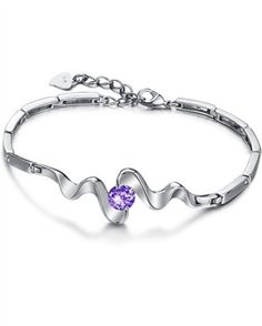 Solid 925 Sterling Silver Purple Topaz Womens Bracelet
