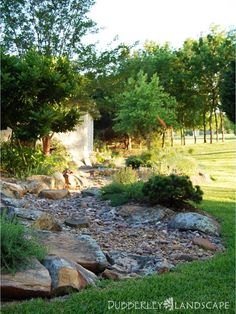 Dry Stream Bed Gallery - Dubberley Landscape - Plano, Texas - Dry stream bed end