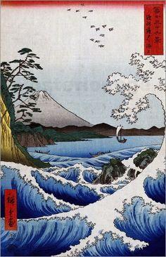Utagawa Hiroshige - Das Meer bei Satta in der Provinz Suruga. Aus der Serie: 36 Ansichten des Fuji-Berges.