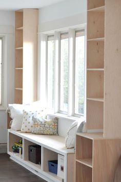 Bookcase Bench Seat New Diy Window Seat and Built Ins Project's Started In 2019 Diy Storage Seat, Bedroom Storage Boxes, Bookcase Storage, Built In Bookcase, Bookshelf Bench, Diy Bookcases, Craft Storage, Storage Cabinets, Kitchen Window Shelves