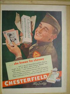 Chesterfield Cigarettes War AND Schenley Royal Reserve Whiskey (1944)