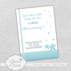 Under the Sea - Birthday Printable Invitation -- ombre waves