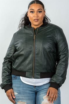 Women's casual fall winter fashion style jackets plus size fully lined peacock pleather bomber jacket Fashion 101, Girl Fashion, Ladies Fashion, Plus Size Outerwear, Womens Clothing Stores, Womens Fashion For Work, Comfortable Outfits, The Ordinary, Lady