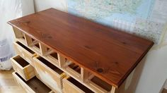 """Sadolin Wood Stain """"Teak"""" applied to the top of the Sligo chest of drawers. 3 inch Corona Knight used..."""