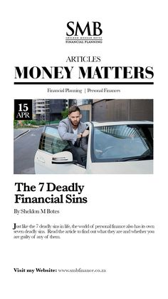 Just like the 7 deadly sins in life, the world of personal finance also has its own seven deadly sins. Read the article to find out what they are and whether you are guilty of any of them. How To Look Rich, Specific Goals, Seven Deadly Sins, Business Motivation, Money Matters, Financial Planning, Personal Finance, Lust, How To Find Out