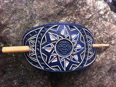 Pentagram flower hand carved leather hair barrette  tooled