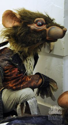 Backstage at Birmingham Royal Ballet's The Nutcracker: an Artist of Birmingham Royal Ballet as a Rat; photo: Roy Smiljanic
