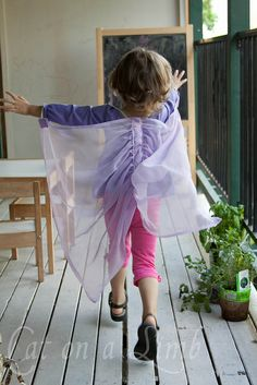 fairy wings diy: I just made these (in pink); they are so stinkin' cute! It took me less than a day (with a toddler and a 6 month old both needing my attention), and only cost about $4 total (I bought the fabric on sale)