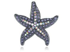Adorable Vintage Inspired Light Purple Sea Starfish Star Crystal Rhinestone Ring