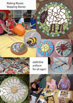 Making mosaic Stepping Stones with children ...kit