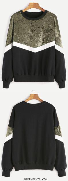 Color Block Drop Shoulder Mixed Media Sweatshirt