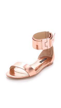Rachel Zoe Gladys Metallic Leather Sandals -- Gah, rose gold. LOVE!