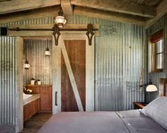 Doors Designs, Delightful Unique Farmhouse Bedroom Design With Cool Barn Doors For Homes And Antique Lantern And Table Lamp Also Grey Bed Sheets And Striped Pattern Pillowcase And Conventional Window Design: Interior and Exterior Barn Doors for Homes