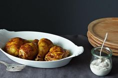 Spiced Roast Chicken with Za'atar Yogurt recipe: A better roast chicken in half the time. #food52.