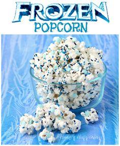 White Chocolate Frozen Popcorn with snowflake sprinkles.