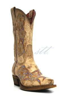 "Macie Bean Women's ""You're No Daisy"" Floral Cowgirl Boots - Blue Daisies on your cowgirl boots is just what you need for your wedding day outfit! 