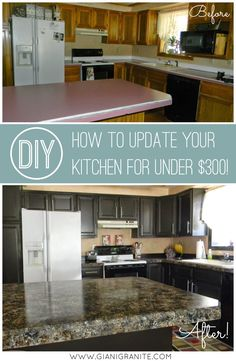 Kitchen update on a budget! Countertop paint that looks like natural store and a one-day cabinet makeover. DIY kitchen makeover. www.gianigranite.com www.nuvocabinetpaint.com
