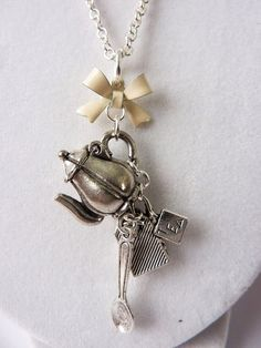 Tea Party Charm Necklace with Hinged Teapot, Tea Bag, Spoon, and Cream Bow - Cute Unique Tea Time Necklace by Weirdly Cute Jewelry on Etsy, $22.00