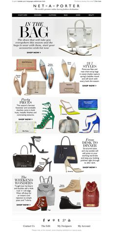 #newsletter Net-a-porter 03.2014  Shoes and bags to take you anywhere