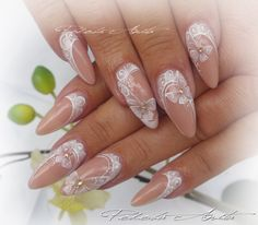 Beautiful nails for a wedding. Lace Nails, Rhinestone Nails, Flower Nails, Butterfly Nail Designs, Nail Art Designs, Bride Nails, Wedding Nails, Fabulous Nails, Gorgeous Nails