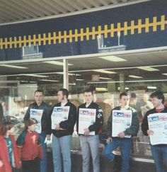 Selling the N.F. publication 'The Flag' in Workington, Cumbria. August 1988.