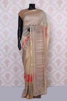 Golden #cream & #red pure #banarasi #silk mesmeric saree with gold & beige border -SR13552