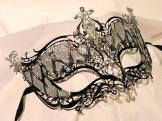 Black and Silver Metallic Masquerade Mask