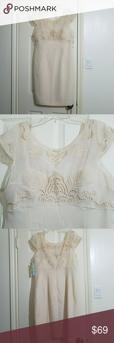 Antonio Melani Dylan Dress 8 New with tag 100% Polyester size 8 lined embroidery around neckline and short sleeves  very nice cream color  fitted style with zip closure on back ANTONIO MELANI Dresses Midi