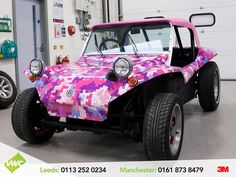 Volkswagen beach buggy recently completed styling a colourful digitally printed wrap at VWC Leeds.  #volkswagen #volkswagenbuggy #offroad #vinylwrap #printedwrap #offroader #buggy #beachbuggy #volkswagenbeachbuggy #3mprint #vinylmasters #leeds #manchester #thevehiclewrappingcentre #vwc #wraps #wrapping #vehiclewraps #layednotsprayed 3M Graphics