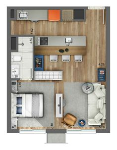 Smart - Artsy - Plantas de casas - The price reach of the Apartment wa Studio Apartment Floor Plans, Studio Apartment Layout, Apartment Plans, Apartment Design, Studio Apt, Layouts Casa, House Layouts, Sims House, Architecture Plan
