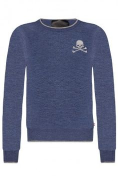 Philipp Plein - 'Basic Skull' Pullover Blue (FW14-HM311124)