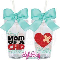 Proud Parent of a CHD Warrior Personalized Acrylic Tumbler LylaBug Designs Congenital Heart Disease Awareness