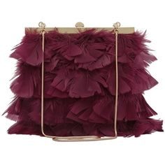 Reiss Grayson Feather Frame Clutch Bag, Burgundy (£79) ❤ liked on Polyvore featuring bags, handbags, clutches, purses, bolsas, feather purse, evening handbags, evening hand bags, special occasion clutches ve purple purse