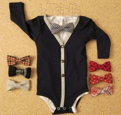 Baby Boy Navy Blue and Gray Cardigan Outfit with removable bow tie - omg cutest thing ever!  by KraftsbyKizzy